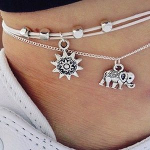 🎉HP-10/14🎉 🌞 Silver Elephant Sun Anklet 🌞